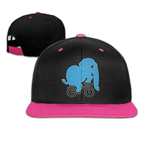 nuohaoshangmao Blue Elephant Riding Bike Men's Adjustable Snapback Hip Hop Dad Hat Cap Flat Brim White Baseball Cap for Men Women