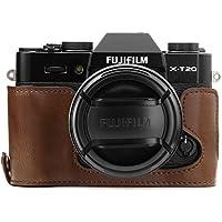 MegaGear mg958Ever Ready funda de piel mitad y correa con acceso a la batería para Fujifilm x-t20/X-T10Cámara–Color Marrón Oscuro