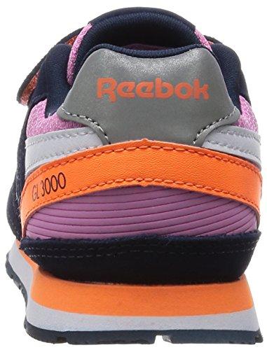 Reebok Gl 3000 2v, Baskets Basses Mixte Bébé Rose / bleu / orange / blanc (rose icône / bleu marine / pêche électrique / réfléchissant)