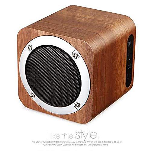 LDQLSQ Tragbarer Lautsprecher Bluetooth-Box Freisprechen Wasserdicht Hölzerner drahtloser Bluetooth Lautsprecher Mini Audio tragbarer Karten-Subwoofer Praktisch,Brown