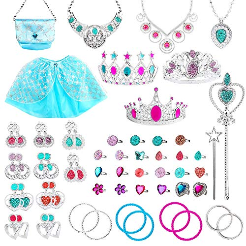 Up Kostüm Little Girl Dress - BEYUMI 60Pcs Princess Pretend Jewelry Toy, Girl's Jewelry Dress Up Play Set,Included Blue Shiny Handbag, Blue Adjustable Skirt, Crowns, Necklaces,Wands, Rings,Earrings and Bracelets for Little Girls
