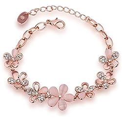 YouBella Rose Gold Plated Crystal Bracelet for Girls/Women