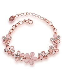 YouBella Rose Gold Plated Crystal Bracelet for Girls/Women
