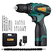 URCERI Cordless Electric Drill Kit 2000 mAh 14.4V Lithium-ion Battery 18+1 Keyless Clutch 2-Speed Driver with LED, Multiple Sockets, Screwdriver, Drill Bits, Magnetic Tip Holder and Flexible Shaft