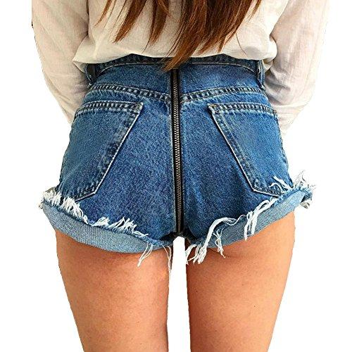 Jeans Damen Straight Jeanshose High Waist Stretch Denim Hosen Mit Hinterem Reißverschluss Sexy Bleistift Hose Casual Jeanshosen Hibote (Rosa Nadelstreifen-blazer)