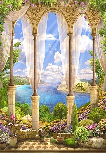 vrupi 3x5ft Vinyl Backdrop Photography Background Fantasy Fairytale Seascape Old Stone Arch View Flowers Wisteria Sun's Rays Summer Sky Clouds Garden Villa Scene Children Adults Bride Girls Photos