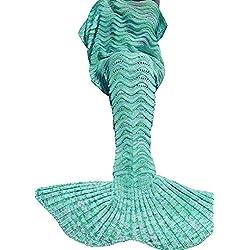 Umeicool Sirène Couverture Poissons Queue Crochet Handmade Lit Wrap Souple Vague Motif All Seasons Sac de Couchage Pour les Enfants et les Adultes (vert)