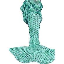Umeicool Ondulado Ola Sirena Cola Manta Croché Suave Cuatro Estaciones Saco De Para los niños o Adultos(verde)