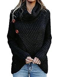 67eb3451735 Jumojufol Damen Pullover Pullover Turtle Kopftuch Hals Stricken Springer  Knöpfe Wickeln