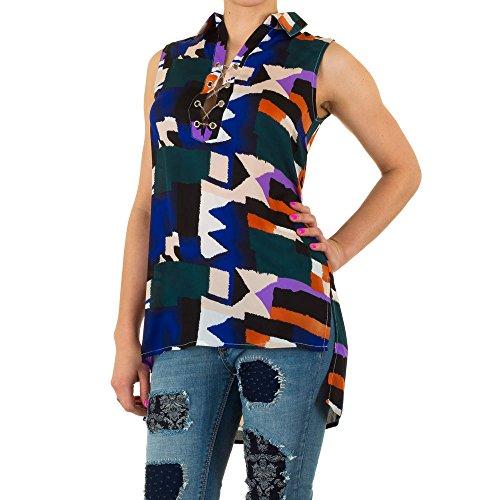 Damen Bluse, BUNTE TUNIKA LONG BLUSE, KL-L275 Blau
