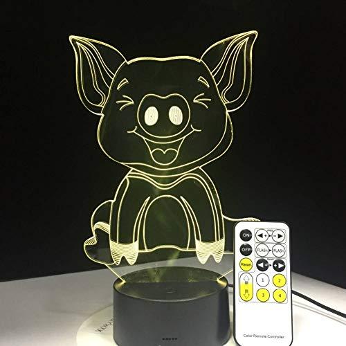 Yddlie 3D niedlichen Schwein Illusion Schreibtischlampe 7 Farbe 3D Lampe Kinder Geschenk Touch Nachtlicht für Kinder Urlaub vorhanden -