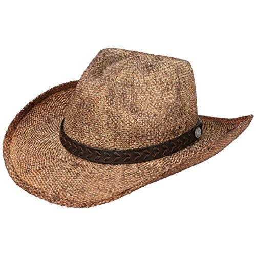 Stetson Mansfield Western Toyo Stoffhut Westernhut Cowboyhut Sonnenhut Strandhut Herren | mit Lederband Frühling-Sommer | L (58-59 cm) braun