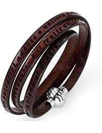 Amen Bracelet Mixte en Cuir/Acier Marron, Cm 57, 10 Grammes