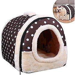 OZUAR 2en 1lit pour Chien Maison Igloo pour Chat Pet House et canapé Pliable d'hiver Doux et Chaud Amovible pour Chien Coussins pour Chat Chien Chiot Lapin Café Dot (45× 35× 35cm)