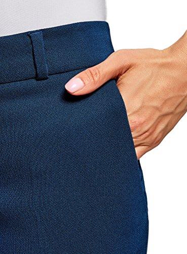 oodji Collection Damen Hose Slim Fit mit Regulärem Bund Blau (7901N)