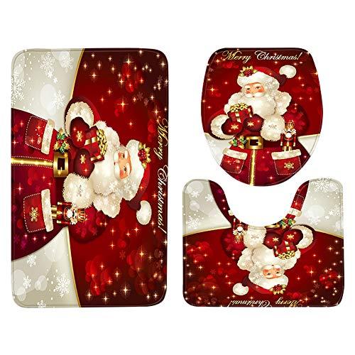 LAAT. 3 pz Natale Tappetini da Bagno Antiscivolo Tappeto da Bagno Contour Tappeti Doccia Lavanderia Cucina Tappeto Bagno Tappeto Assorbente