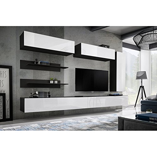 Paris Prix - Meuble TV Mural Design Fly XV 320cm Blanc & Noir