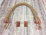 RopeServices UK Natürliches Absperrseil, 28 mm x 1m lang, mit Kupfer-Haken & Augplatten