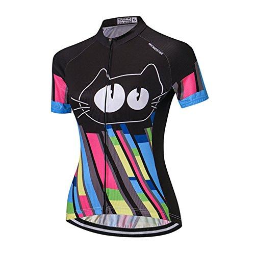 Weimostar Xinzechen Damen Radtrikot schnell trocknend Bekleidung Shirt Tops, Damen Mädchen, Cat Black, Asia L =(US M) -