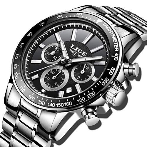 LIGE Herren Elegant Business Analog Quarz Fashion Kleid Uhr mit Wasserdichter Edelstahl 0222 Silber Schwarzes