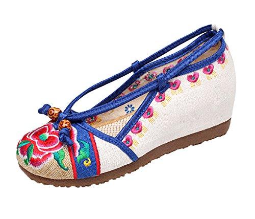 Insun Femmes Mary Janes Compensées Fait Main Broderie Chaussures De Danse Ballerines Beige