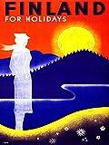 Wee Blue Coo Prints TRAVEL FINLAND MIDNIGHT SUN FJORD FORSET VINTAGE POSTER ART PRINT 12x16 inch 30x40cm Reise Finnland MITTERNACHT Jahrgang Kunstdruck