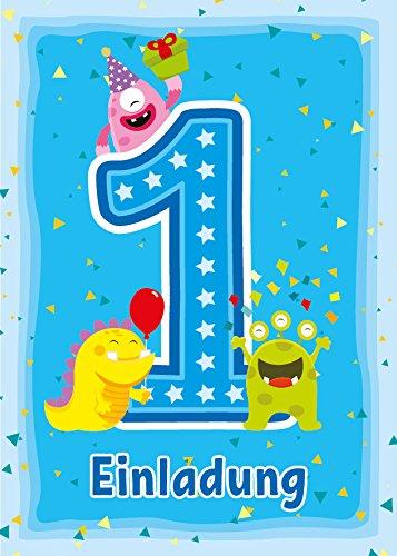 12 Einladungskarten 1. Kindergeburtstag Jungen Mädchen lustige Monster erste Geburtstag Geburtstagseinladungen Einladungen Geburtstagsparty Kartenset (Monster 1. Geburtstag)