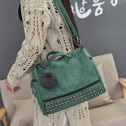 Satchel Handbag Bag Bag Tote Large Womens Familizo Shoulder Rivet Verde Travel XaEqwPzxT