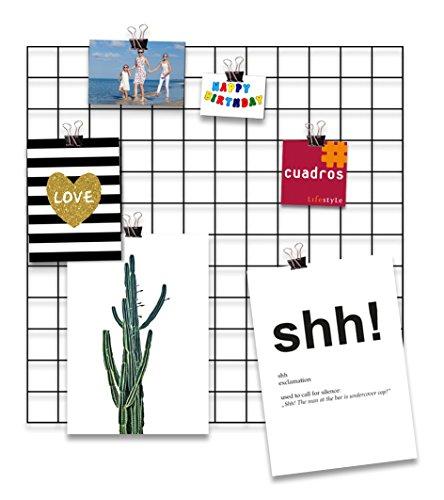 Design-Wandgitter 'Black Beauty' zum Aufhängen | Moodboard | Gitterwand | Dekogitter | Draht | Netz | Rack | Mesh | Memo Board | Wandhalterung | Wand-Organizer | Fotowand, Größe:60x60 cm, Farbe:Schwarz (Draht-wand Rack)