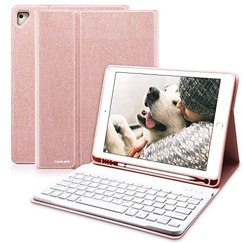COO Funda Teclado iPad 9.7, Funda iPad 2018 con Ranura para Lápiz y Teclado Español (Incluye Letra Ñ) Bluetooth para iPad 2018/iPad 2017/iPad Pro 9.7/iPad Air 2/1 - Cubierta Magnética Delgada (Rosa)