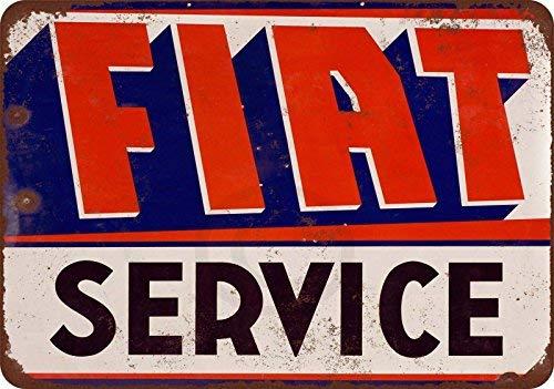 qidushop FIAT Service Vintage Look Reproduktion Retro Metall Wanddeko Kunst Shop Man Cave Bar Garage Aluminium 30 x 45 cm Schild -