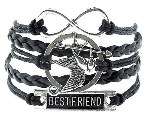 (black) pulsera - pulsera - trenzado - mejor amigo - infinito - juegos del hambre - imitación jay - hombre - mujer - unisex