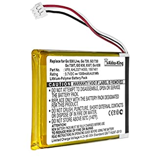 Akku-King Li-Polymer Battery for TomTom Go 530 Live, 630, 630T, 720, 730T, 930T, SatNav - replaces 1697461, AHL03714000, VF8 - 1300mAh