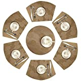 Shacos Lot de 7 Sets de Table Ronds 14 Pouces Coussinets Tapis de Table Coins 70% PVC 30% Polyesters Sets de Table 7 résistants à la Chaleur Lavable(Feuilles d'or, 7)
