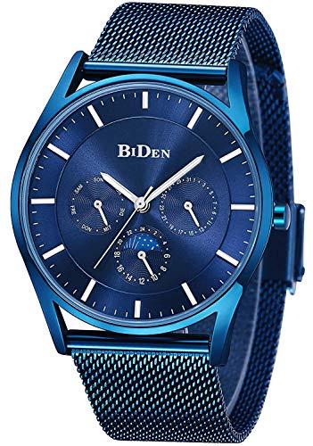 Herren Uhr Männer Wasserdicht Sport Edelstahl Mesh Blau Dünne Armbanduhren Klassische Elegant Datum Kalender Analog Quarz Kleid Blau Herrenuhr