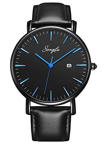 SONGDU Herren Ultra Dünne Elegant Analoge Quarz Armbanduhr(Blau)