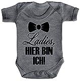 Geschenkidee Geburt Strampler Bio Baumwoll Baby Body kurzarm Junge Ladies, hier bin ich, Größe: 0-3 Monate,Heather Grey Melange