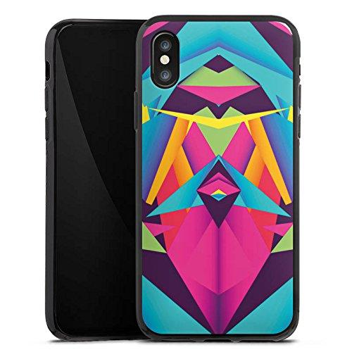 Apple iPhone X Silikon Hülle Case Schutzhülle Friendly Color Dreiecke Muster Silikon Case schwarz