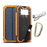 15000mAh Dual USB Portable Solar Charger Backup Power Bank Outdoor Solar Panel Charger with LED Emergency Light for iPhone Samsung HTC and Other Smartphone (Orange).