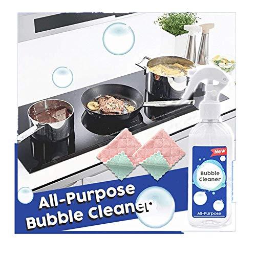 Kitchen Cleaner Spray,Multi-Purpose Foam,200ml Effizienter Küchenfettreiniger Reinigungsset Mehrzweck Schaumreiniger Allzweck-Blasenreiniger für alle Küchenflächen 1X Reiniger + 2x sauberes Handtuch