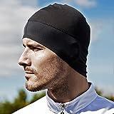 Gorro Transpirable con Orejeras - Ligero y Cómodo - para Moto, Running, Ciclismo, Deportes, Bici, Padel, Tenis - Color: Negro - Hombre (Unisex)