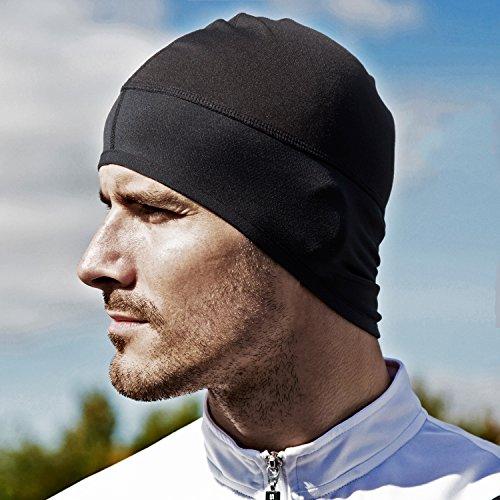 Imagen de gorro transpirable con orejeras  ligero y cómodo  para moto, running, ciclismo, deportes, bici, padel, tenis  color negro  hombre unisex