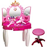 Little Kids Girls Princess Glamour Beauty Makeup Pretend Role Play Set Toy Mirror Durable Dressing Vanity Table Up With Music Sound And Light Toys For Kids