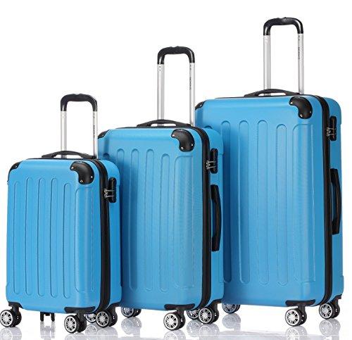 2045 Hartschale Koffer Kofferset Trolley Reisekoffer Größe XL-L-M in 12 Farben (Türkis, Set)