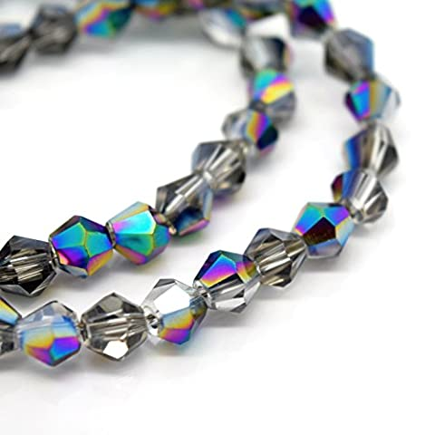 FACETED BICONE CRYSTAL GLASS BEADS PICK METALLIC COLOUR & SIZE 4MM,6MM,8MM (Silver/Metallic Multi - 4x3mm (115pcs))