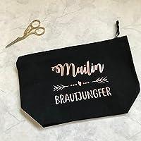 Geschenk Braut Trauzeugin Brautjungfer - personalisierter Kosmetikbeutel in schwarz