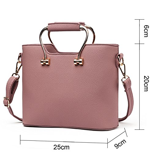 BYD - Pell Donna Handbag borsa a Spalla Borse a mano Tote Bag Shoulder Bag con maniglia in metallo Rosa