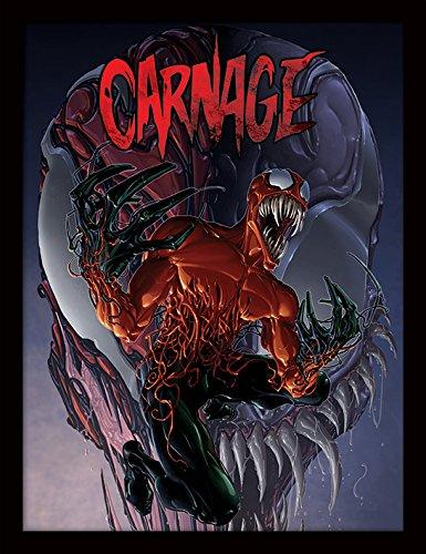 Comics Daredevil Marvel Kostüm - Pyramid International Marvel Extreme (Carnage) 30x40 cm gerahmter Druck, 250GSM PAPERWRAP MDF, Mehrfarbig, 44 x 33 x 4 cm