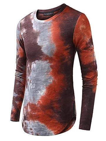 HEMOON Homme T-shirt a Manches longues Slim Col rond Confortable en Coton Elastique Orange 2XL