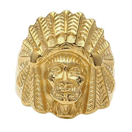 XDBMK Edelstahl Native American Indian Chief Schädel Kopf Biker Ringe für Herren Goldene (Chief Us-navy)